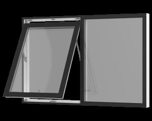 Rationel topstyret vindue med et fast felt. Kan bestilles i træ eller i en vedligeholdelses-fri  træ/alu udgave.  Modellen fås både i en retkantet moderne og klassisk udgave med profilerede karme.    Modellen leveres i en Basic version med 2 lag glas